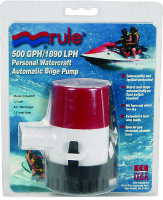 "Rule 25S 500 Gph Automatic Bilge Pump For 3//4/"" Hose 14041"