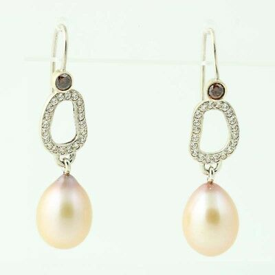 84e2b30fe New Authentic Pandora Circle of Friends Pearl Dangle Earrings 290956CZ  Sterling