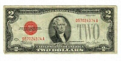 1928F $2 TWO DOLLAR BILL U.S. Paper Money Red Seal Note