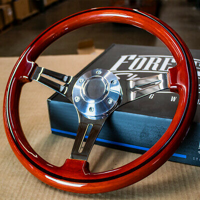 14 Inch Polished 6-Hole Steering Wheel with Vintage Wood Grip