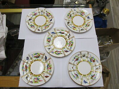 "Coalport England  Hand Painted Butterfly / Flower Plates 6 3/4"" W V Good Cond"