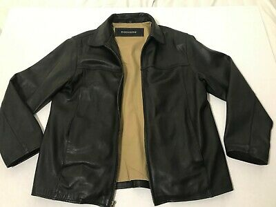 9ef730f284a Black Dockers Leather Jacket Mens size L full zip lined Authentic Leather  EUC