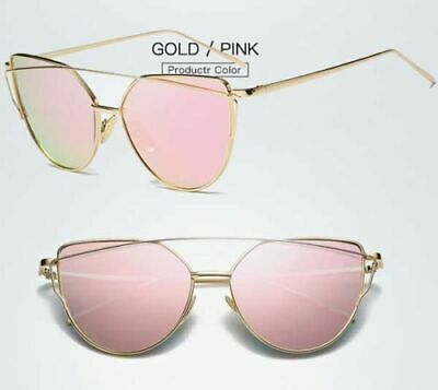 Women Lady Girl Fashion Sunglasses Rose Gold Curved Lens Metal Frame sy