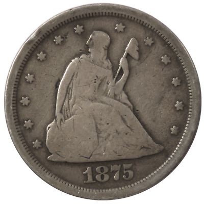 1875-S 20c Silver Seated Liberty Twenty Cent Piece .1449 ozt