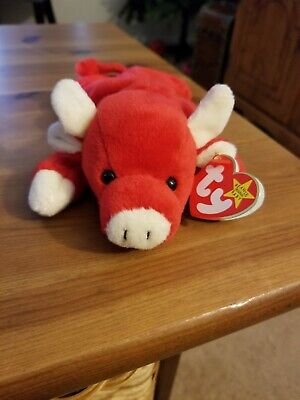 c19db8653f3 RARE - TY Beanie Babies - Snort the Bull - Retired 1995 with Tag Error -
