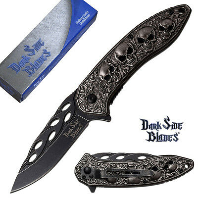 Dark Side Blades SPRING ASSISTED Folding KNIFE w/ Wicked Skull & Flame Design