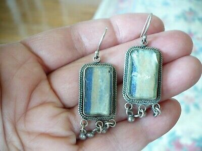 Vintage Sterling Silver & Ancient Roman Glass Earrings Israel One Of a Kind Rare