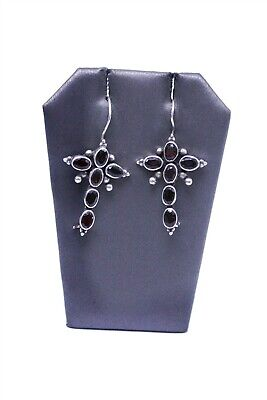 925 Sterling Silver Oval Garnet Starburst Religious Cross Dangle Earrings KK2261