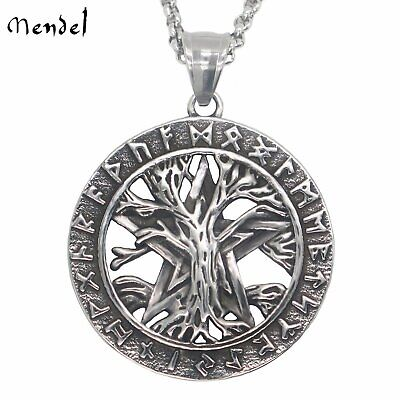 MENDEL Viking Rune Mens Celtic Tree of Life Pendant Necklace Stainless Steel Men