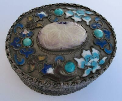Antique Chinese Sterling Carved Through Jade Turquoise Cloisonne Mirror Oval Box