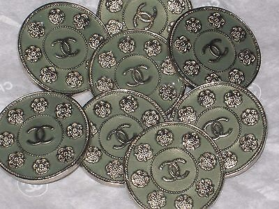 Chanel  8 Metal Cc Logo Front Camellia Flower Green Buttons  22 Mm / 1'' Lot 8