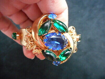 Vintage For the COLLECTOR 1950's Juliana Blue & Green Spring Cuff Bracelet