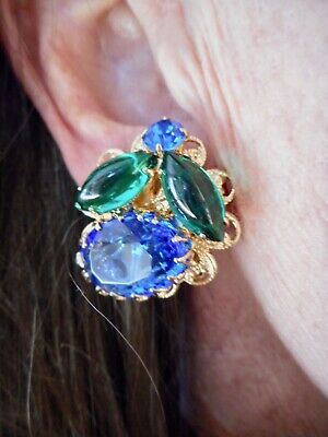 Vintage For the COLLECTOR 1950's Juliana Blue & Green Clip Earrings
