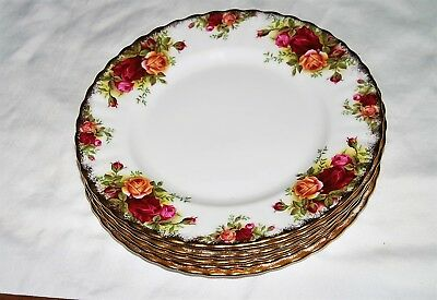 "Royal Albert Old Country Roses China Made in England - 7 salad plates 8.25"" diam"