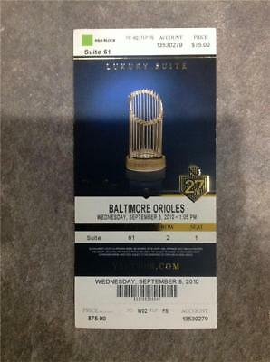2010 NY New York Yankees Luxury Suite UNUSED Game Ticket Commissioner's Trophy