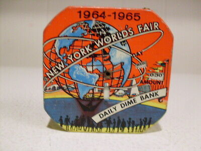 Vintage Unisphere 1964-65 New York Worlds Fair, Tin Daily Dime Bank R.M.S. Sales