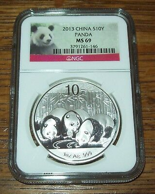 2013 NGC MS69 China Panda ¥ 10 Yuan 1 oz .999 Silver Coin