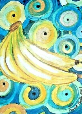 original painting art By PB hippy flower child art yellow bananas 9x12 NR