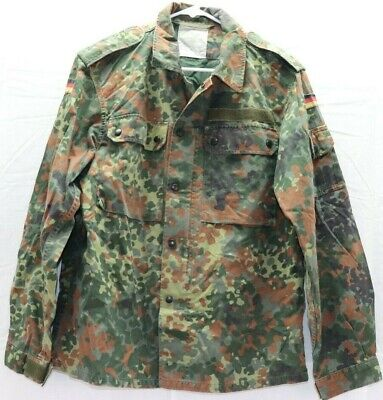 6a625fbb9ad2b GERMAN FLECKTARN CAMO Shirt Jacket w zipper size 95 w patches E9261 ...