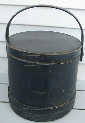 Antique Magnificant Blueberry Blue Painted Xl Firkin W/lid Handle, Overlap Bands