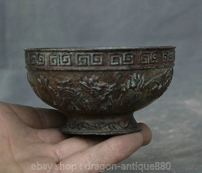 "4 ""Xuande Marked Ancient Chinese China Bronze Dynasty Dragon Phoenix Bowl Dishes"