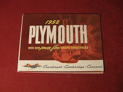 1952 Plymouth Sales Showroom Dealership Brochure Booklet Catalog Old