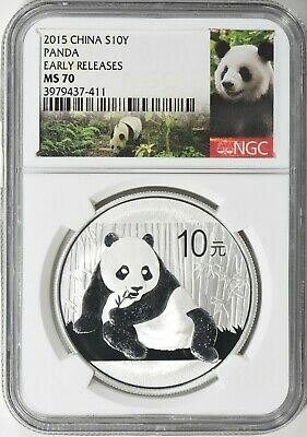 China 2015 10 Yuan Silver Panda Early Releases NGC MS-70