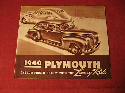 1940 Plymouth Showroom Sales Dealership Brochure Original Old Vintage Catalog