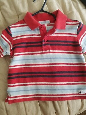 Janie And Jack Short Sleeve Shirt Boys Striped Polo Style 6-12M Sailboat EUC