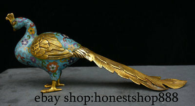"""17"""" Old Chinese Bronze Gild Cloisonne Animal Peacock Peafowl Statue Sculpture"""