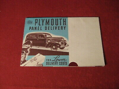 1939 Plymouth Panel Delivery Showroom Sales Dealer Brochure Original Old Catalog