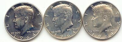 3 1964 Proof JFK Kennedy Half Dollar,Accented Hair,Impaired, Auction No Reserve