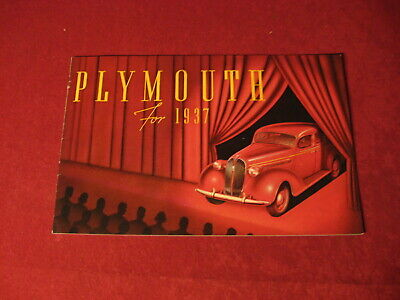 1937 Plymouth Dealership Showroom Sales Dealer Brochure Original Old Catalog