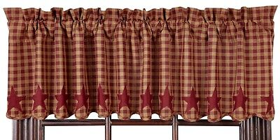 Burgundy Star Valance 16X72 Scalloped Lined Cotton Khaki Check VHC BRANDs