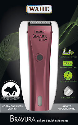 New Wahl Bravura Lithium Cord/ Cordless Rechargable Animal Hair Dog Clipper Pink