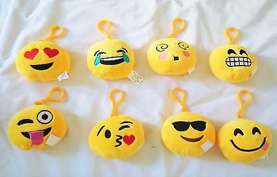 "8 pcs Emoji Angry Poop 3.5"" Face Plush Keychain Emoticon Accessory Party Favor"