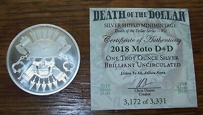 2018 1 oz Silver Shield Round - MiniMintage D+D Debt Death Forever with COA