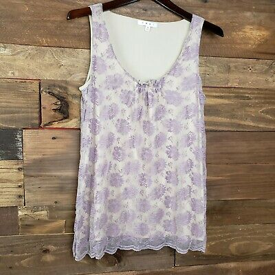 CAbi INTRIGUE TANK TOP LAVENDER LACE SLEEVELESS BLOUSE SMALL
