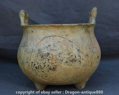 "8.4"" Xuande Marked Old Chinese Bronze Two Ears Three Foot Incense Burner Censer"