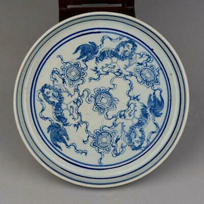 chinese old ming Blue white porcelain Hand Painted three Lion dance plate d01