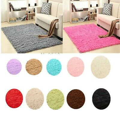 New Large Small Shaggy Floor Rugs Plain Soft Sparkle Area Mat Thick Pile Glitter
