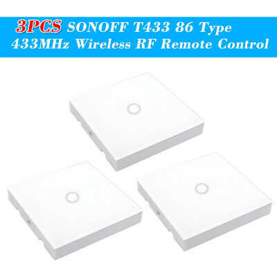 3PCS SONOFF T433 86 Type Luxury Wall Touch Panel Sticky 433MHz Wireless RF D0K8