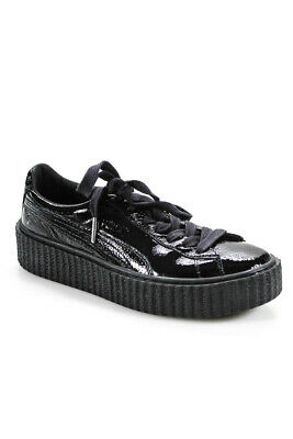 free shipping 294c2 42809 FENTY PUMA BY Rihanna Womens Patent Leather Platform Sneakers Black Size 7.5