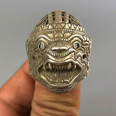Chinese Antique Collectible Old Tibet Silver Handwork Terror Demon No.13 Ring