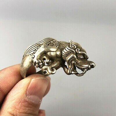 Chinese Old Antique Tibet Silver Handwork Collectible Winged Dragon No.10.5 Ring