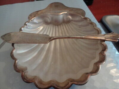 Antique Silver Shell Butter Dish & Spreader London 1903 92.69g
