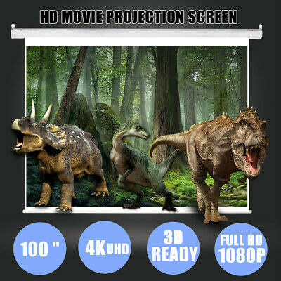 US 100 Inch 16:9 Manual Pull Down Projector Projection Screen Home Theater Movie