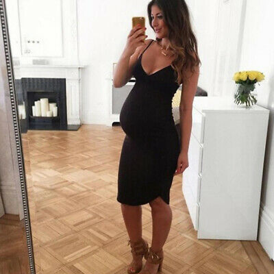 Ladies Spaghetti Strap Pregnant Maternity Solid Stylish Sexy Holiday Dress LG