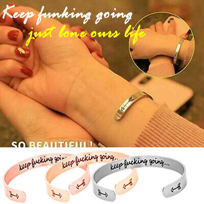 Personalized Keep Fucking Going Cuff Bracelet Letter Engraved Bangle Gifts 2019