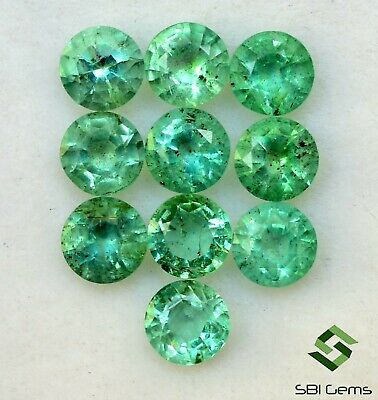 Natural Emerald Round Cut 4 mm Lot 10 Pcs 2.68 Cts Faceted Loose Gemstones